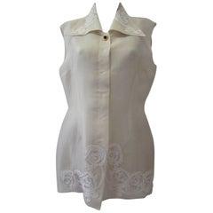 Tomaso Stefanelli Silk Creme Sleveless Shirt