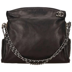 Chanel Black Lambskin Leather Fold Over Shoulder Bag