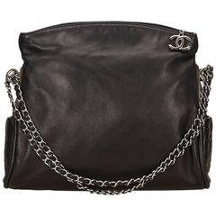 Chanel Black Lambskin Leather Fold Over Shoulder Bag