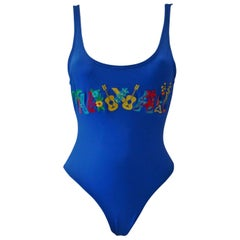 Istante By Gianni Versace Blue Bathing Suit With Hawai Printed Detail Front 1998