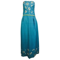 Vintage Philip Hulitar daisy embroidered blue slub silk strapless gown 1950s