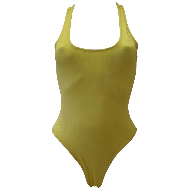 Gianni Versace Mare Lemon Bathing Suit With White Polka Dots