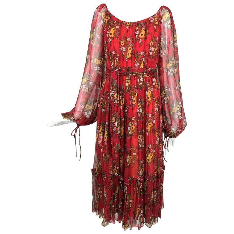 Vintage House of Arts India sheer silk floral print peasant dress 1970s For Sale