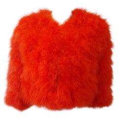 Sonia Rykiel Orange Feather Jacket