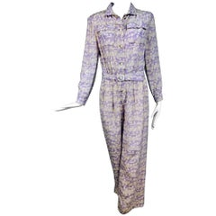 Vintage Courreges lavender silk print jumpsuit 1970s