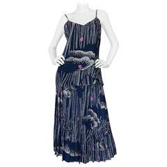 1970s Hanae Mori Slk Bamboo & Flower Print Skirt & Top