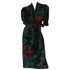 1930s Fashion Originators Guild Blue & Red Floral Silk Dress
