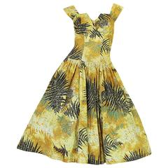 1950s Kamehameha Yellow Cotton Print Hawaiian Sun Dress