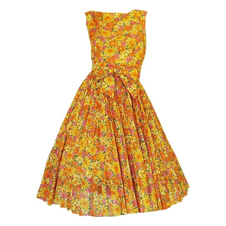1950s Suzy Perette Citrus Floral Cotton Voile Pleated Skirt Dress For Sale