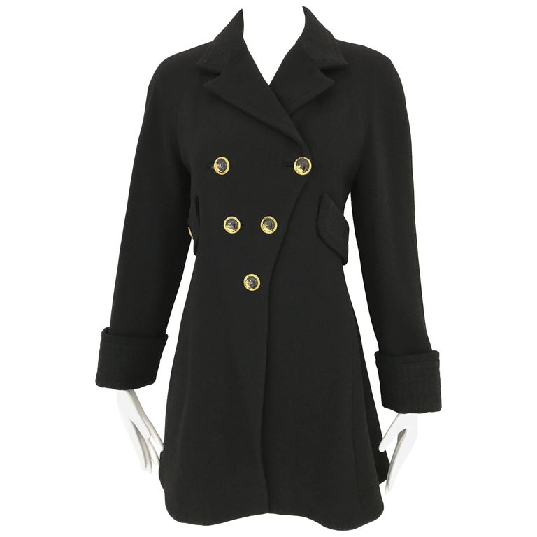 Vintage Gianni Versace Couture 90s Black Peacoat Jacket For Sale