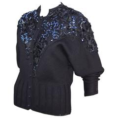 Bedazzled 1980's French Black Wool Evening Sweater