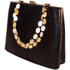 Unique 1950's Sydney of California Black Snakeskin Handbag