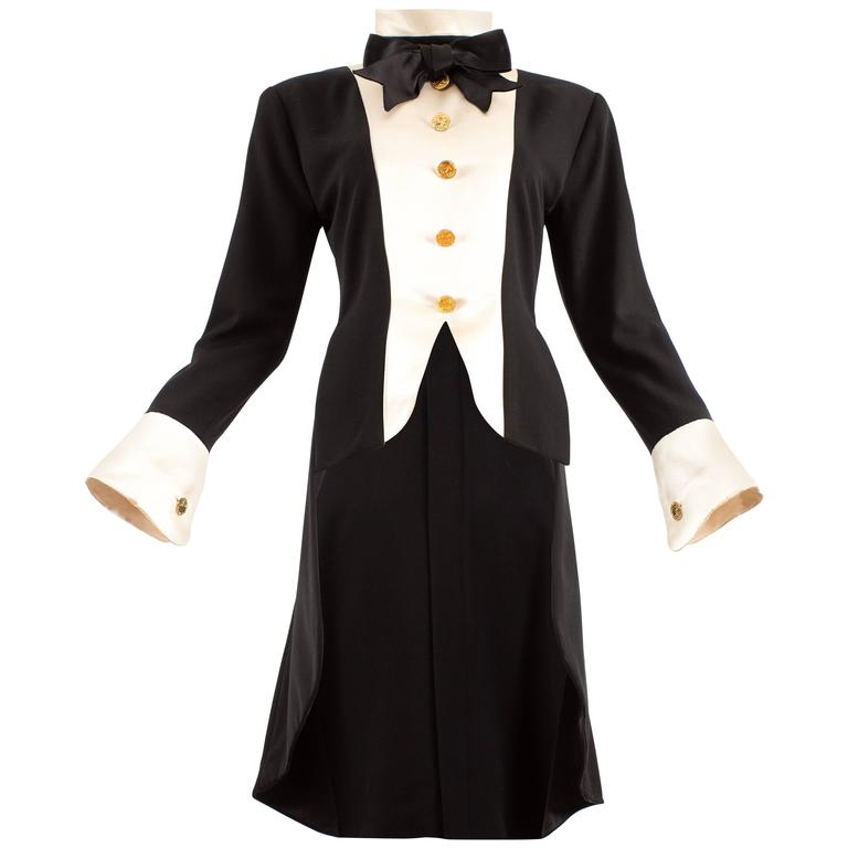 Chanel 1980s black silk evening tailcoat  For Sale