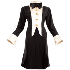 Chanel 1980s black silk evening tailcoat