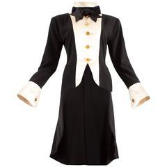 Chanel 1980s black silk evening tailcoat