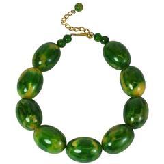 Lanvin End of Day Green Bakelite Beads