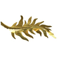 Herve Van Der Straeten Gilded Leaf Brooch