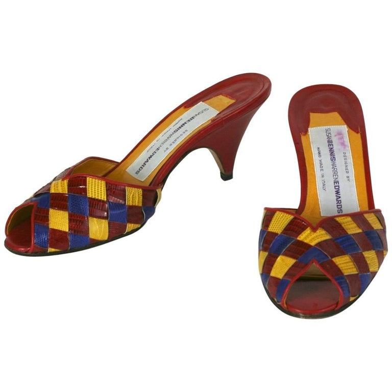 Susan Bennis Warren Edwards Colorful Woven Snakeskin Mules