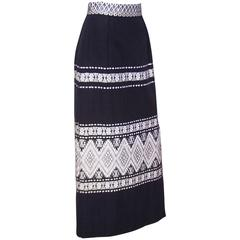 Graphic C.1970 Mexican Folkloric Cotton Maxi Skirt