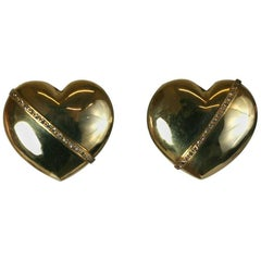 Puffy Gold and Diamond Earrings