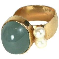 Modernist Chalcedony and Pearl Ring