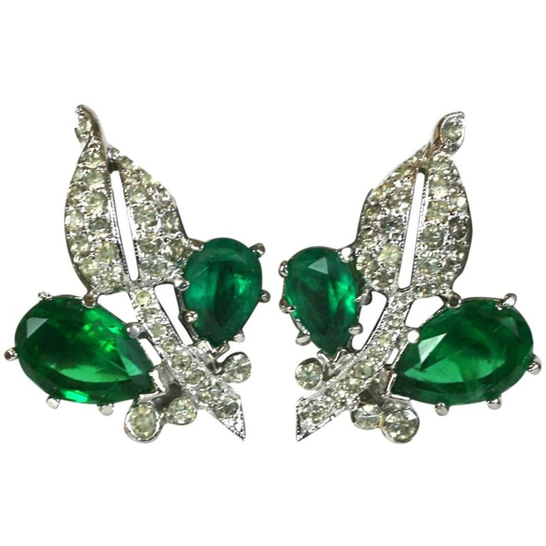 Kramer Pave Leaves Faux Emerald Earrings For