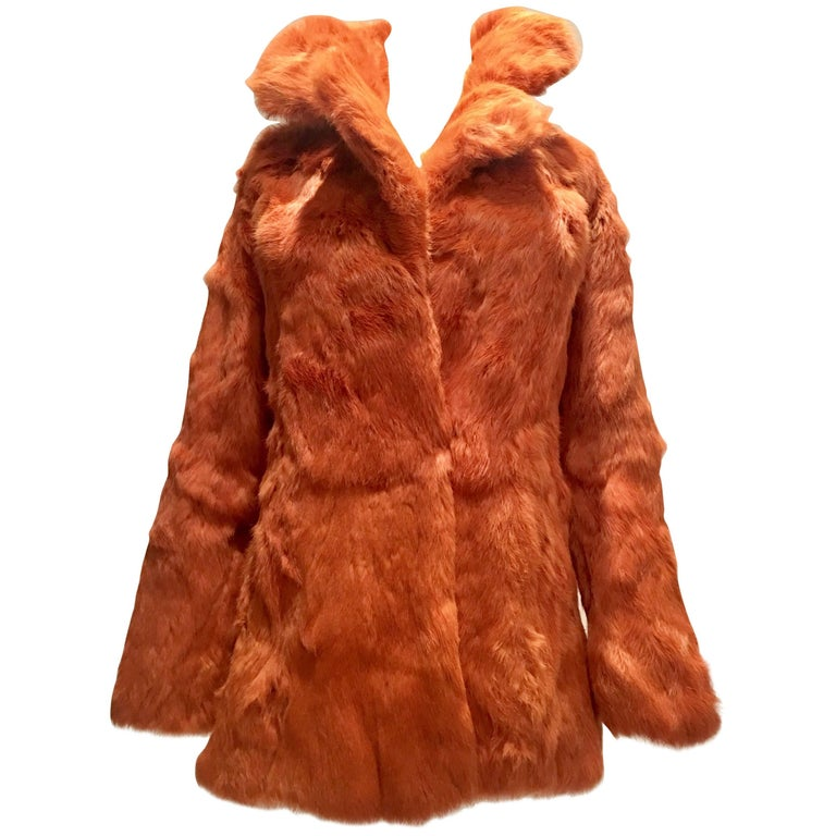 1970'S French Rabbit Fur & Leather Pea Coat by, Fur Couture Beverly Hills