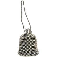 Art Deco Gunmetal Silver Bead Gate Top Beggars Handbag