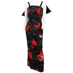 60s Poppy Printed Silk Column Dress w/ Satin Back Bow