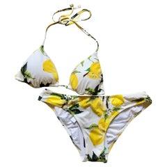 New Dolce & Gabbana Lemon Print White Yellow Bikini Swimsuit Bathing Suit