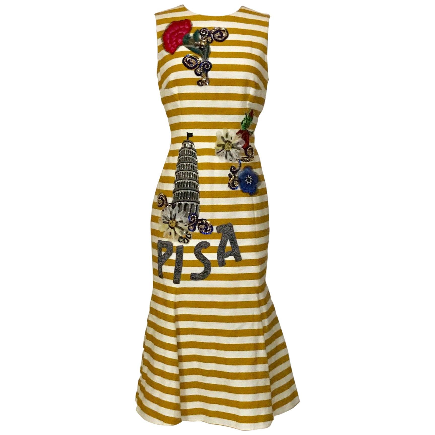 New Dolce & Gabbana Yellow and White Striped Tower of Pisa Flared Midi Dress