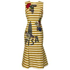 New Dolce & Gabbana Yellow and White Stripe Tower of Pisa Flared Midi Dress