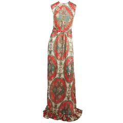60s Printed Chiffon Maxi Dress w/ Metallic Threads & Matching Scarf