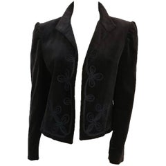 80s Ellen Tracy Black Velvet Embroidered Jacket