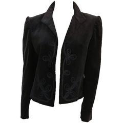 80s Ellen Tracy Black Velvet Embroidered Jacket