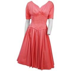 50s Salmon Pink A-Line Dress