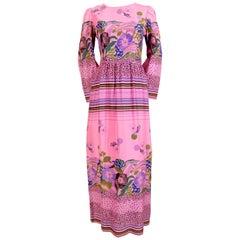 1960's LANVIN haute couture floral crepe dress