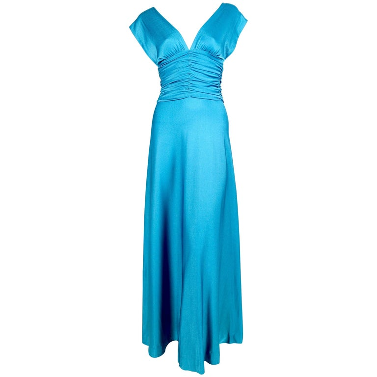 1970's LORIS AZZARO turquoise jersey dress with ruching