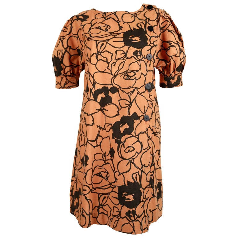 1980's SAINT LAURENT cotton floral dress