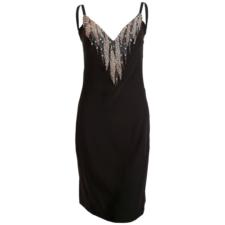 1970's KARL LAGERFELD for CHLOE black silk dress with beads For Sale