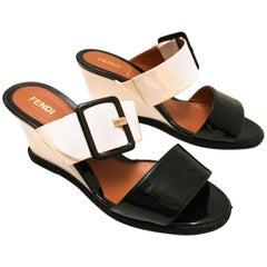 Fendi Patent Leather Wedges - Black and White - Size 37.5