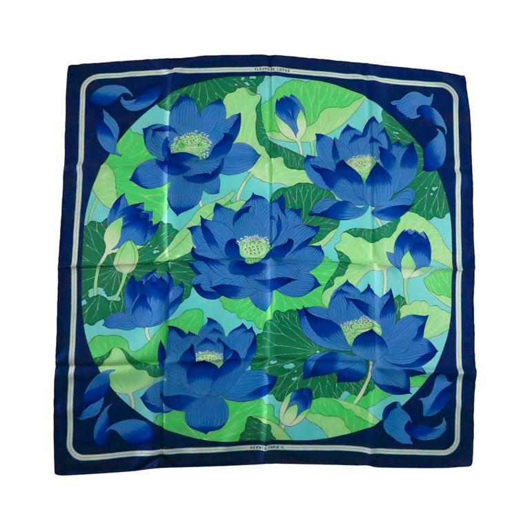 "Hermes silk twill scarf Fleurs De Lotus by Christiane Vauzelles 35"" x 35"" 1970s"