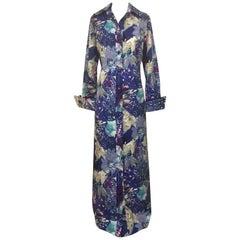 Tori Richard for I Magnin 1970s Blue and Purple Hawaiian Print Maxi Shirt Dress