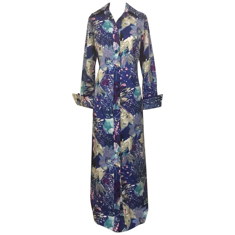 Tori Richard for I Magnin Blue and Purple Hawaiian Print Maxi Shirt Dress, 1970s