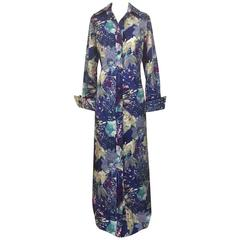 Tori Richard for I Magnin 1970s Blue and Purple Hawaiian Print Maxi Shirt Dress