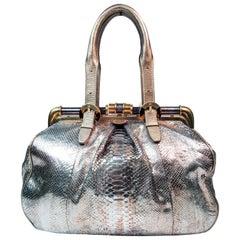 OSCAR DE LA RENTA Oversize Metallic Snakeskin Frame Handbag