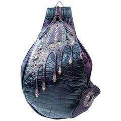 LOU GUERIN Crocodile and Sterling Silver Semi Precious Stone Messenger Bag