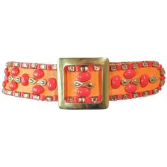 1960's Colorful Orange and Coral Hue Jeweled Belt with Gold Hardware Size 2 4