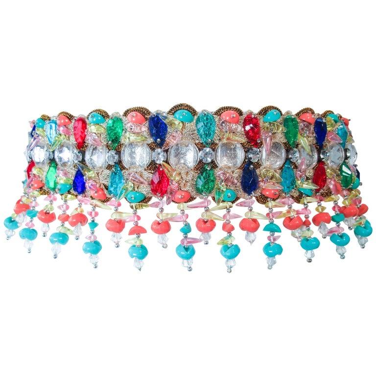 1960's Colorful Jeweled Fringe Belt Size Small