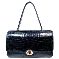 HERMES Vintage Black Crocodile Purse with Gold Hardware